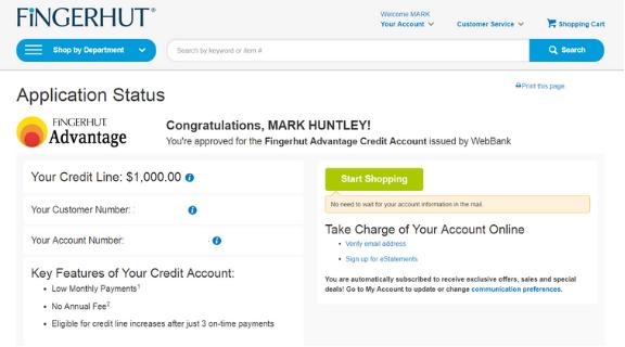 my credit journey Fingerhut Credit Card Account