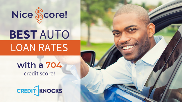 704 credit score Best Interest rates new used refinance car loan