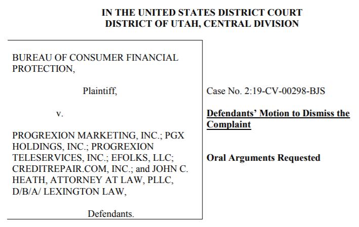 lexington law cfpb consumer financial protection bureau lawsuit complaint
