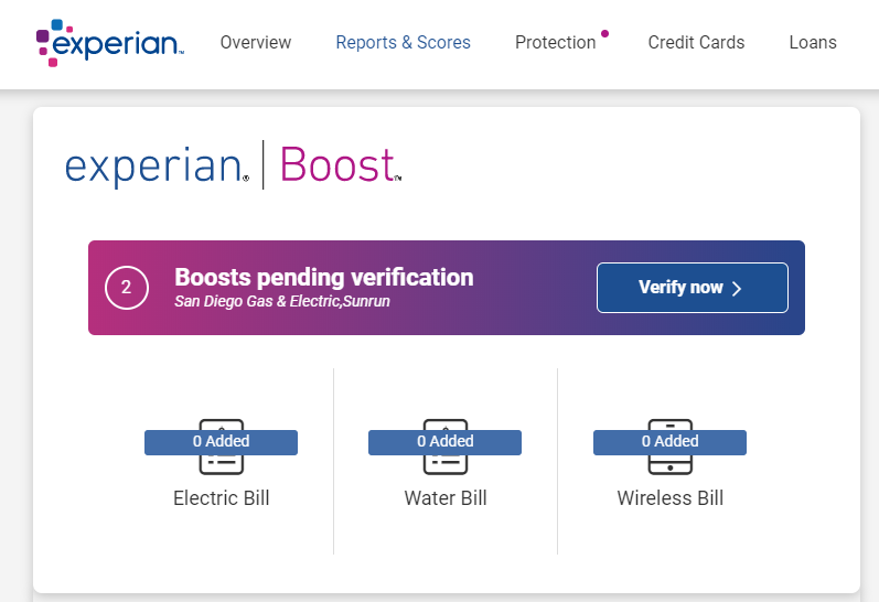 Pending Experian Boosts