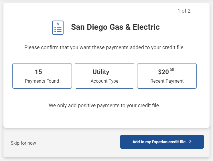 Select Experian Boost Bills