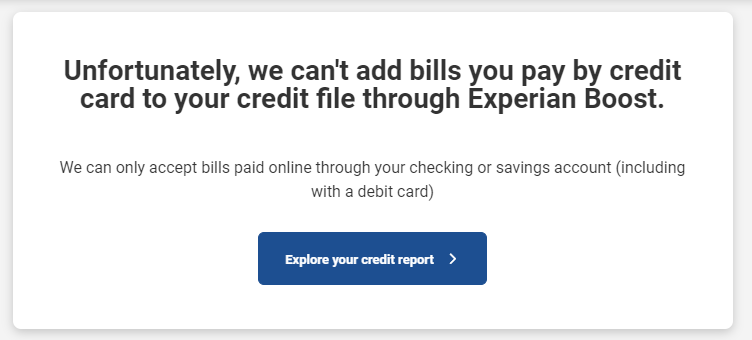 No credit card bill payments allowed
