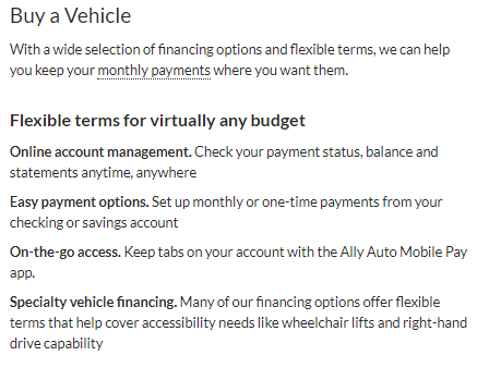 ally auto loan review buy a vehicle flexible terms online account management easy payment options on the go access specialty vehicle financing