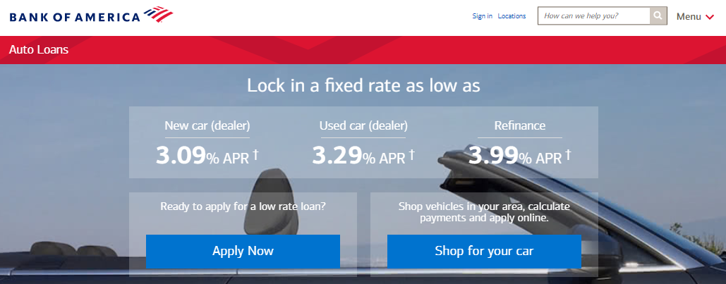 bank of america auto loan review car loan rates boa best interest rates
