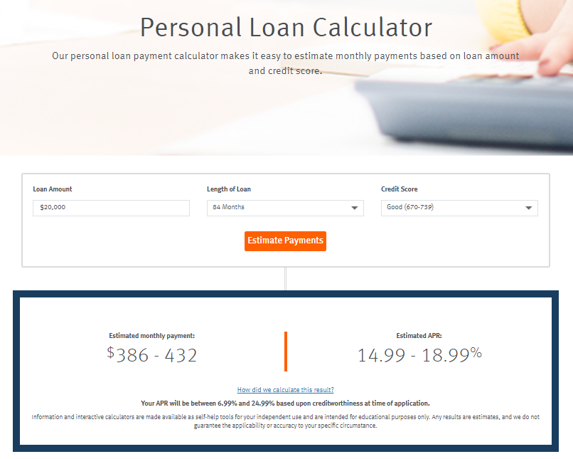 discover personal loan calculator payment calculator loan amount lenght of loan credit score estimate payments