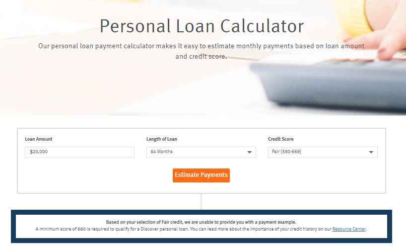 discover personal loan calculator for bad credit or fair credit