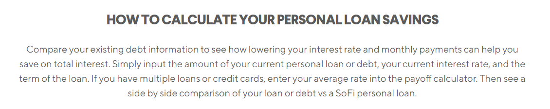 sofi personal loan calculator personal loan comparison of debt calculator