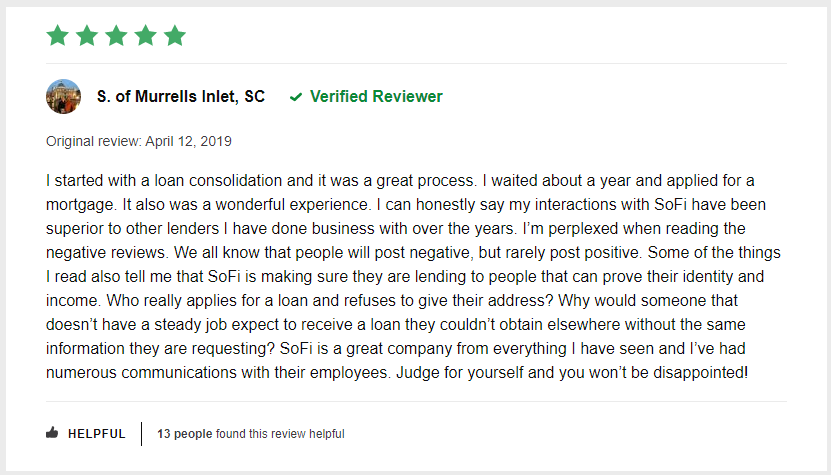 sofi personal loan customer reviews