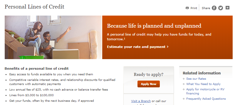 wells fargo personal lines of credit