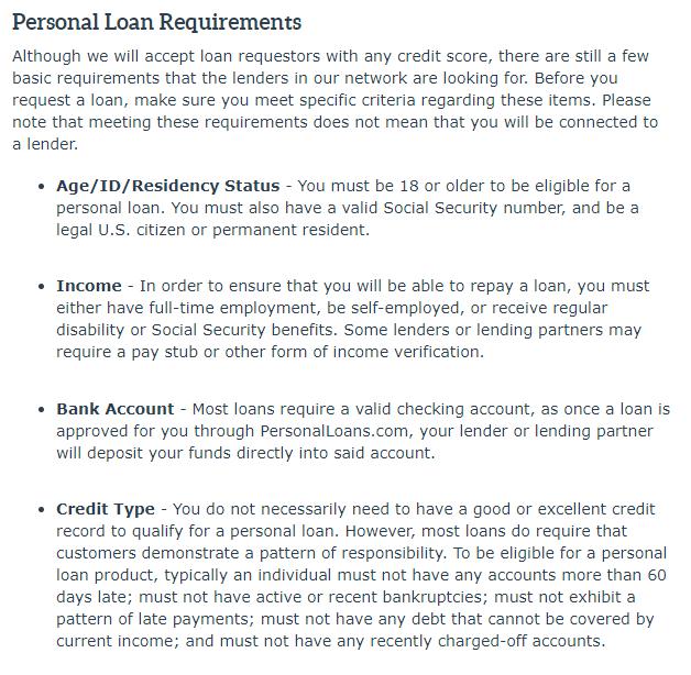 personalloans.com requirements